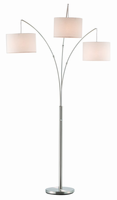 Adesso Trinity Arc Lamp, Satin Steel