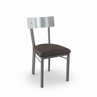 Amisco - 30493 - Lauren Chair (Upholstered Seat And Stainless Steel Backrest)