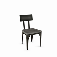 Amisco - 30563 - Architect Chair (Distressed Solid Wood Seat And Metal Backrest)