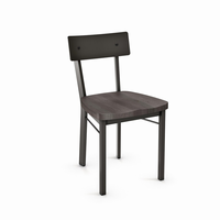 Amisco - 30593 - Lauren Chair (Distressed Solid Wood Seat And Metal Backrest)