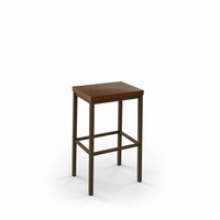 Amisco - 40038 - Bradley Non Swivel Stool (Distressed Solid Wood Seat)