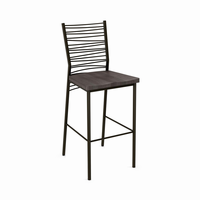 Amisco - 40123 - Crescent Non Swivel Stool (Distressed Solid Wood Seat)