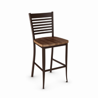 Amisco - 40198 - Edwin Non Swivel Stool (Distressed Solid Wood Seat)