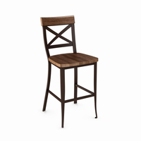 Amisco - 40224 - Kyle Non Swivel Stool (Distressed Solid Wood Seat And Accent)