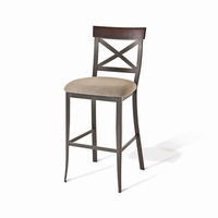 Amisco - 40224 - Kyle Non Swivel Stool (Upholstered Seat And Solid Or Distressed Solid Wood Accent)