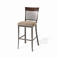 Amisco - 40229 - Annabelle Non Swivel Stool (Upholstered Seat And Solid Wood Accent)