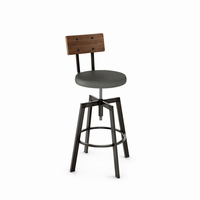 Amisco - 40263 - Architect Screw Stool (Upholstered Seat And Distressed Solid Wood Backrest)