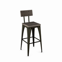 Amisco - 40264 - Upright Non Swivel Stool (Distressed Solid Wood Seat And Backrest)