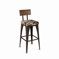 Amisco - 40264 - Upright Non Swivel Stool (Upholstered Seat And Distressed Solid Wood Backrest)