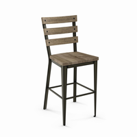 Amisco - 40323 - Dexter Non Swivel Stool (Distressed Solid Wood Seat And Backrest)