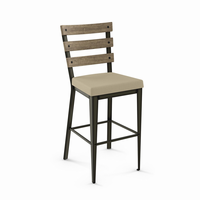 Amisco - 40323 - Dexter Non Swivel Stool (Upholstered Seat And Distressed Solid Wood Backrest)