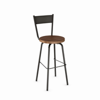 Amisco - 40487 - Crystal Swivel Stool (Distressed Solid Wood Seat)