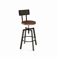 Amisco - 40563 - Architect Screw Stool (Distressed Solid Wood Seat And Metal Backrest)