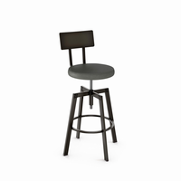 Amisco - 40563 - Architect Screw Stool (Upholstered Seat And Metal Backrest)