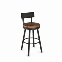 Amisco - 40593 - Lauren Swivel Stool (Distressed Solid Wood Seat And Metal Backrest)