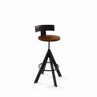 Amisco - 40614 - Uplift Screw Stool (Distressed Solid Wood Seat And Metal Backrest)