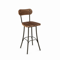 Amisco - 41268 - Bean Swivel Stool (Distressed Solid Wood Seat And Backrest)