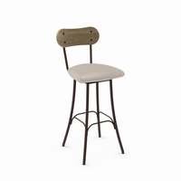 Amisco - 41268 - Bean Swivel Stool (Upholstered Seat And Distressed Solid Wood Backrest)