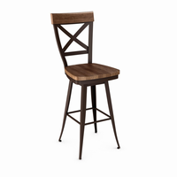 Amisco - 41414 - Kyle Swivel Stool (Distressed Solid Wood Seat And Accent)