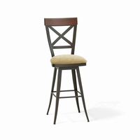 Amisco - 41414 - Kyle Swivel Stool (Upholstered Seat And Solid Or Distressed Solid Wood Accent)