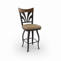 Amisco - 41514 - Peacock Swivel Stool (Solid Wood Accent)