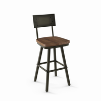 Amisco - 41527 - Jetson Swivel Stool (Distressed Solid Wood Seat)