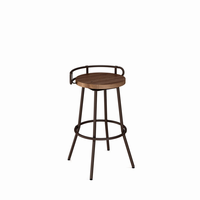 Amisco - 41565 - Bluffton Swivel Stool (Distressed Solid Wood Seat And Metal Backrest)