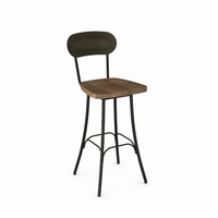 Amisco - 41568 - Bean Swivel Stool (Distressed Solid Wood Seat And Metal Backrest)
