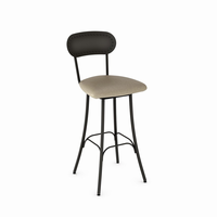 Amisco - 41568 - Bean Swivel Stool (Upholstered Seat And Metal Backrest)