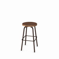 Amisco - 42460 - Button Swivel Stool (Distressed Solid Wood Seat)