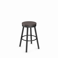 Amisco - 42493 - Connor Swivel Stool (Distressed Solid Wood Seat)