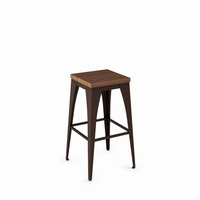 Amisco - 42564 - Upright Non Swivel Stool (Distressed Solid Wood Seat)