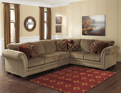Ashley 23800 55 46 67 Grecian 3 Piece Sectional Sofa With Left Arm Loveseat