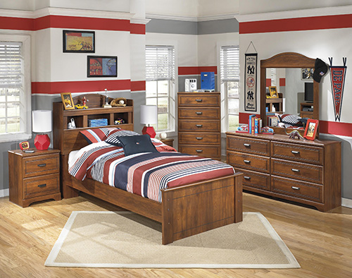 Ashley B228 21 26 63 Barchan 3 Piece With Twin Bookcase Headboard Bedroom  Set