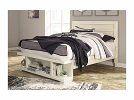 ASHLEY BLINTON WHITE QUEEN PANEL STORAGE BED
