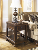 Porter - T697-3 - Chair Side End Table - Rustic Brown
