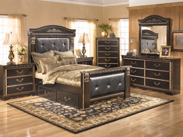ASHLEY COAL CREEK DARK BROWN QUEEN MANSION STORAGE BED
