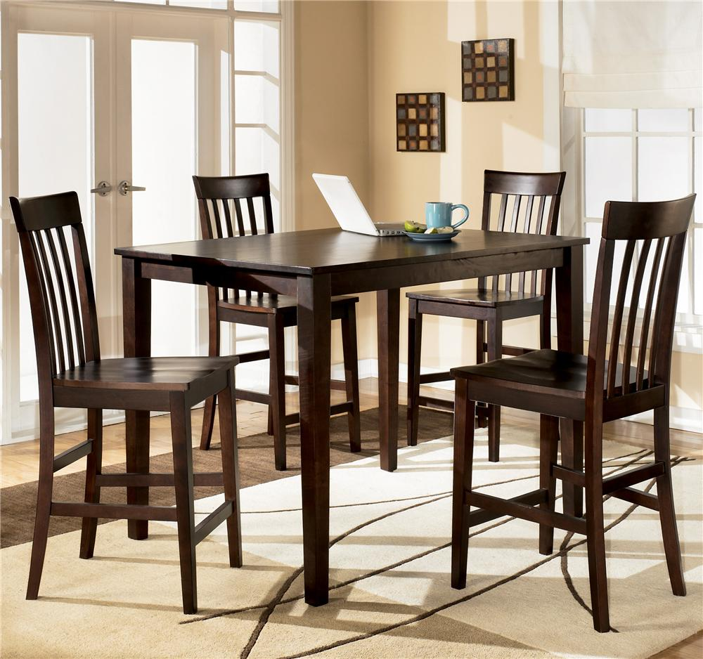 Ashley d258 223 hyland rectangular dining room counter table set 5 cn - Dining rooms furniture ...