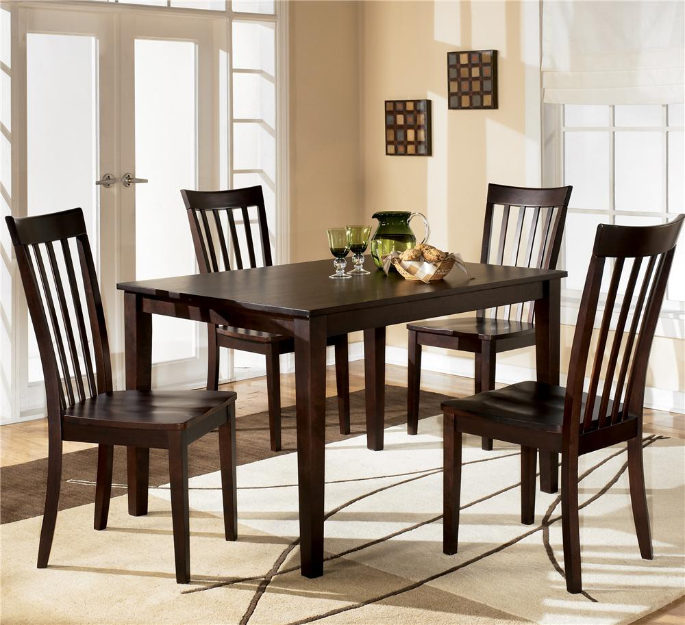 Ashley d258 225 hyland rectangular dining room table set for Dining room table chairs