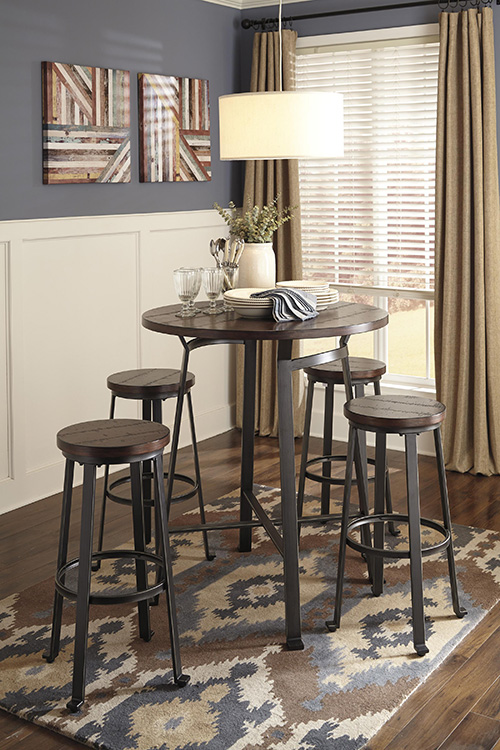 ashley d307 12 130 challiman round dining room bar table