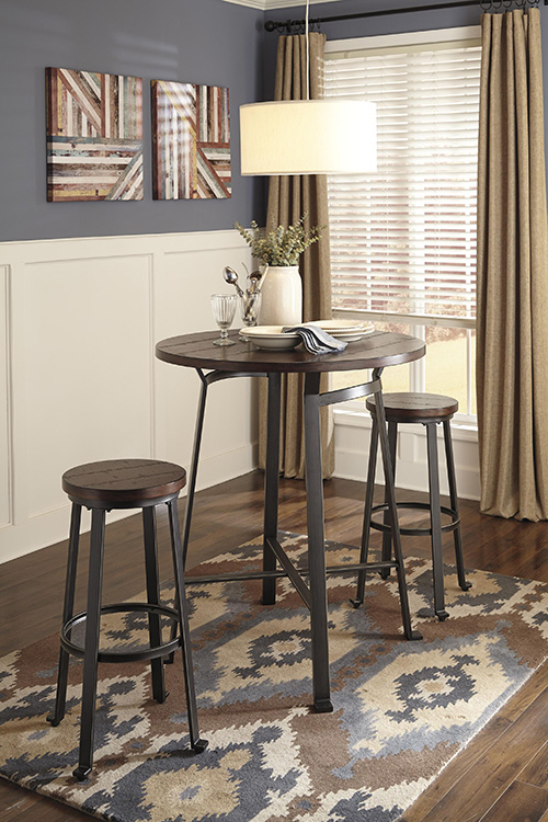 ashley d307 12 challiman round dining room bar table