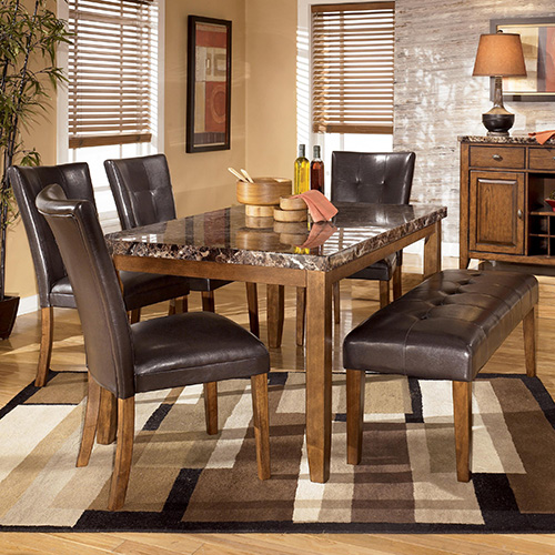 Ashley D328 25 01 00 Lacey 6 Piece Dining Table With Side Chairs And Bench Set