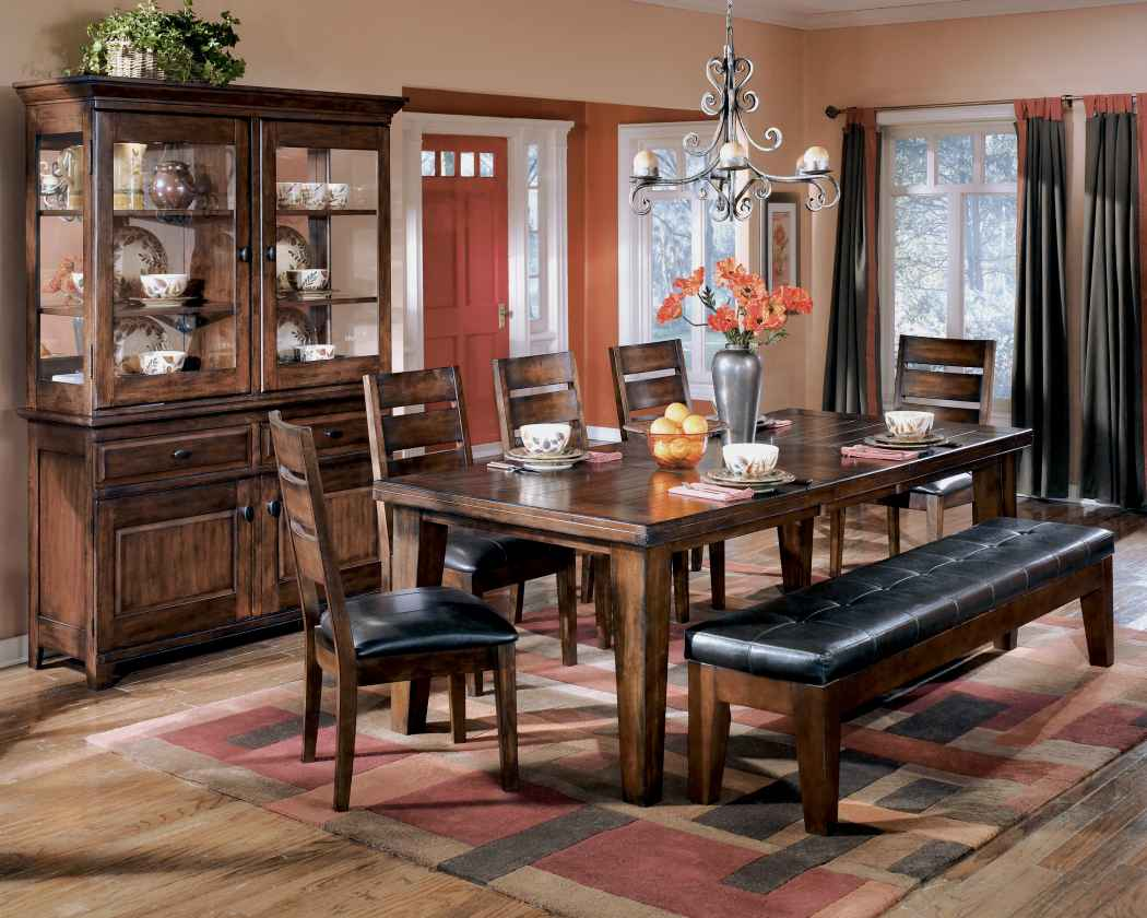 Ashley D442 09 Larchmont Extra Large Upholstered Dining Room Bench