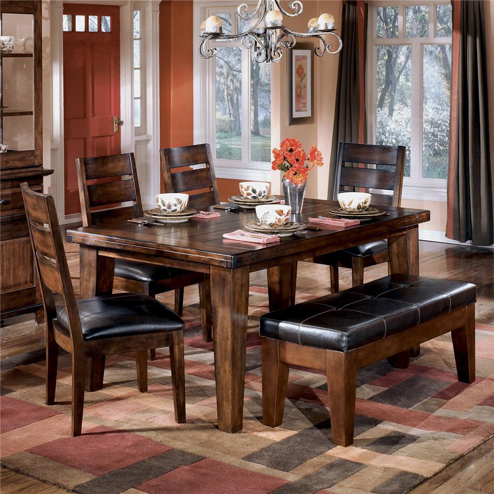 Ashley D442 25 01 00 Larchmont 6 Piece Rectangular Dining Room Table With Upholstered Side Chairs And Bench