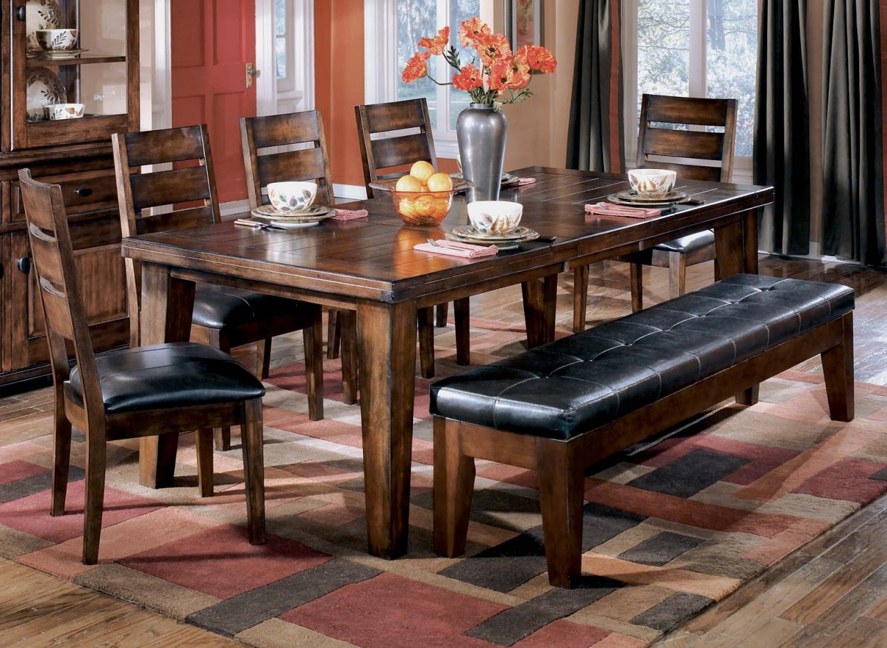 Ashley D442 45 01 09 Larchmont 6 Piece Rectangular Dining Room Extension Table With Upholstered Side Chairs And Large Bench