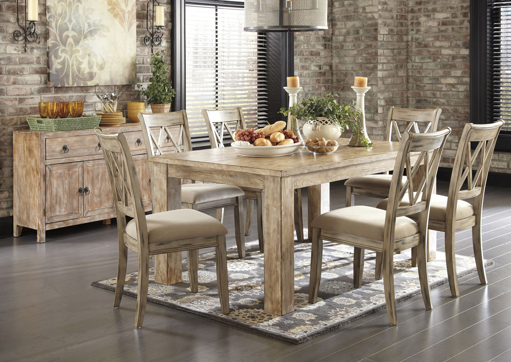 Ashley D540 225 102 Mestler 5 Piece Rectangular Dining Room Table Set With Antique White Side Chairs