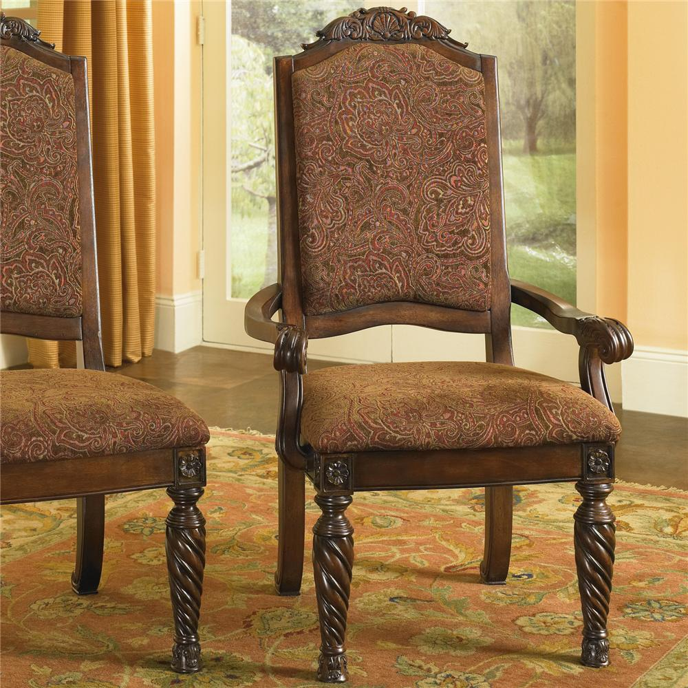 Ashley D553 02a North Shore Dining Upholstered Arm Chair