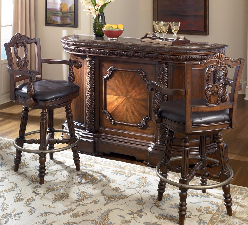 Ashley D North Shore Bar With Marble Top With Ashley North Shore Dining  Room Set
