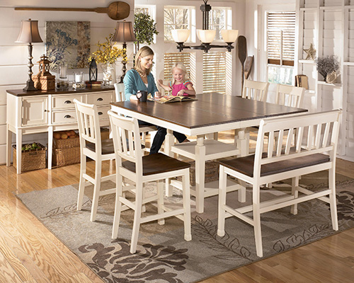 Ashley D583 32 224 323 Whitesburg 5 Piece Square Dining Room Counter Extensionension Table Set With Barstools