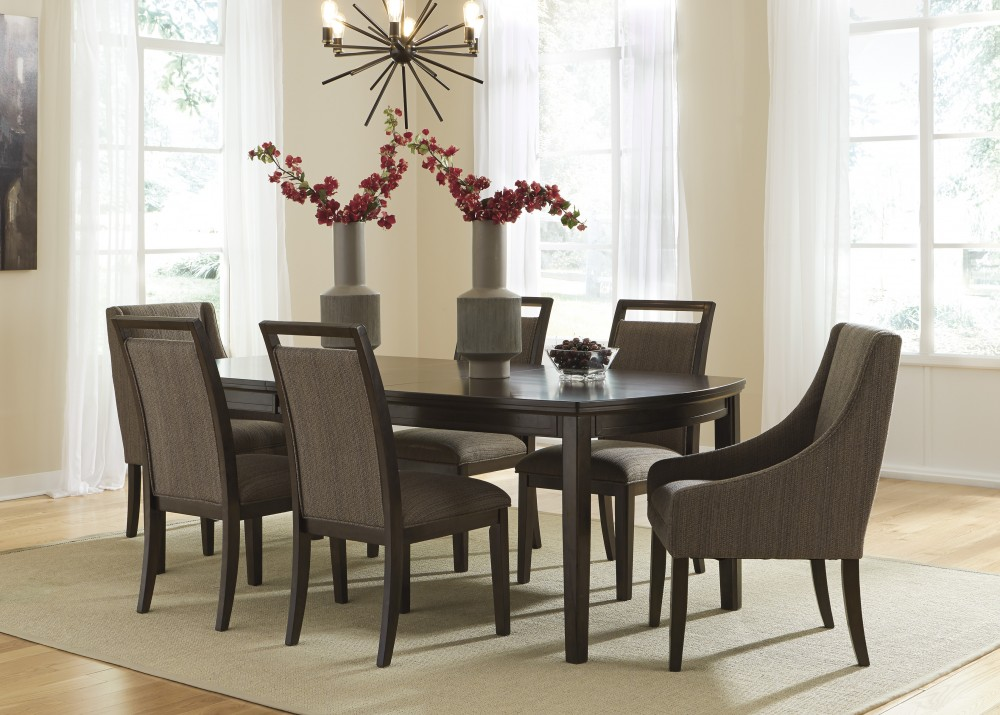 Ashley D681 35 01 02 Lanquist 7 Piece Rectangular Dining Room Extension Table Set
